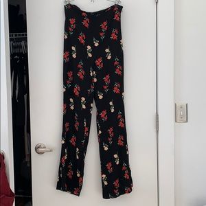Pants - High Rise Floral Black Bell Bottoms  M